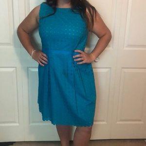 LOFT blue & green dress size 14